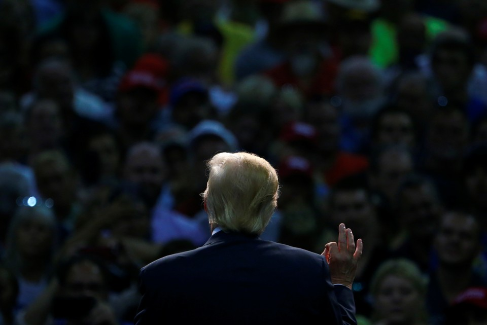 Republican U.S. Presidential nominee Donald Trump attends a campaign event at the Ocean Center in Daytona Beach, Florida August 3, 2016. REUTERS/Eric Thayer     TPX IMAGES OF THE DAY      - RTSKXCZ