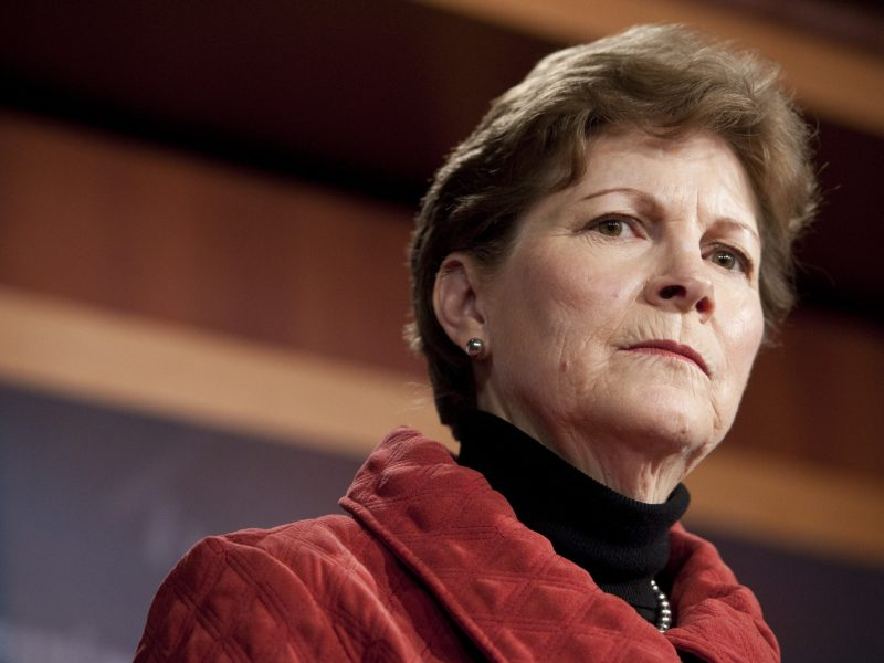 UNITED STATES Ð JANUARY 27: Sen. Jeanne Shaheen, D-N.H., holds a news conference with Sen. Johnny Isakson, R-Ga., (not shown) on Thursday, Jan. 27, 2011, to introduce their Biennial Budget Appropriations Act, that would switch Congress from an annual spending process to a two-year cycle. (Photo By Bill Clark/Roll Call)